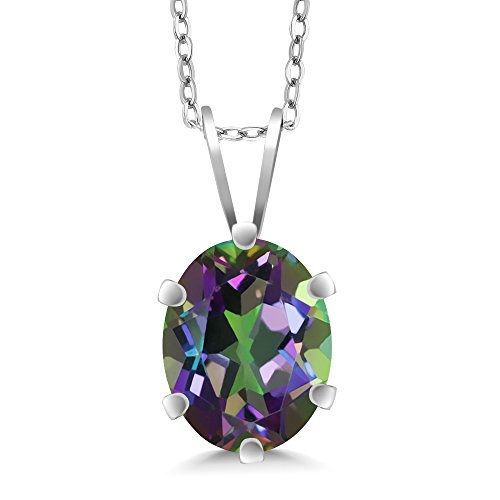 Pendant Mystic Gemstone Topaz (2.30 Ct Oval Shape Green Mystic Topaz 925 Sterling Silver Pendant Necklace With 18 Inch Silver Chain)