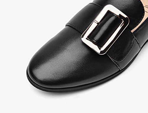Pointed Women's Leather Shoes Honeystore Square Black Loafer Flats Buckle British xwUIIqC