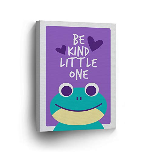Dwi24isty Canvas Print Frog Be Kind Little One Quote Wall Decor Purple Background Kids Room Decor Wall Art Baby Gift Nursery Decor