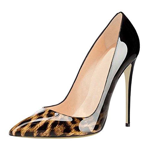 leopardo B Tallone Punta Stiletti Vestito Pompe Scivolare Sammitop Aguzza Pattini Classico Femminile Di Su ZxqO17Y
