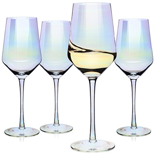 Glassware White Wine (Wine Glasses, Large Red Wine or White Wine Glass Set of 4 – Unique Gift for Women, Men, Wedding, Anniversary, Christmas, Birthday - 17oz, 100% Lead Free Crystal)