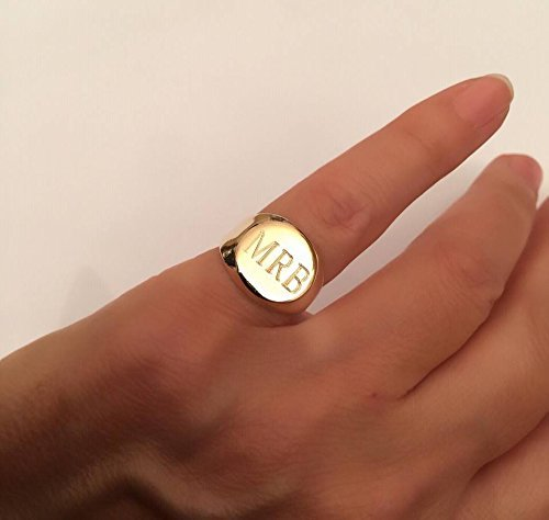 Personalized Signet ring with Engraving, Engraved ring, Personalized Ring, Signet Ring, women ring, men ring, Initial ring, Gift for women, letter Ring, Pinky ring, gold / silver letter (Gold Pinky Ring)