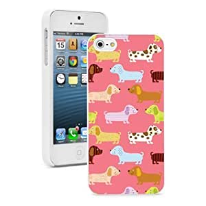 Apple iPhone 4 4S Hard Back Case Cover Colorful Cute Dachshund Puppy Cartoons Pattern (White) by ruishername