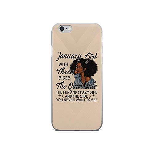 iPhone 6/6s Pure Clear Case Cases Cover January Girl with Three Sides Quote Curly Sexy Girl