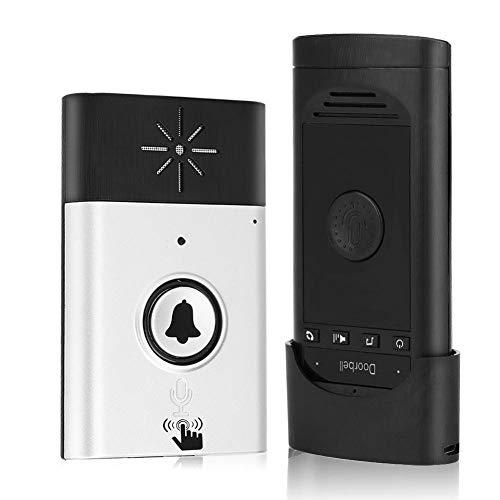 Two-Way Voice intercom Doorbell Wireless Voice Intercom Doorbells Home Doorbell Intercom Kit LED Indoor Outdoor Interphone System HomeImprovement Security Electronic (Silver)