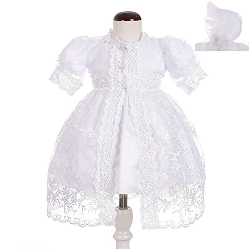 Dressy Daisy Baby Girls' Baptism Dress Christening Gown with Cape Bonnet Embroidered Christening Outfit for Girls Size 24 Months ()