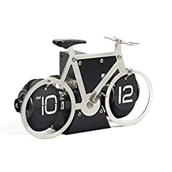 Auto Flip Down Clock Stainless Steel, Bicycle, 8x5x2.5 Vintage Retro Style Fashion, Geeks,Quartz, Quiet, Silent, Noiseless, Decorative for Office, Modern Living Room Decor (Shooting Star Cycle)