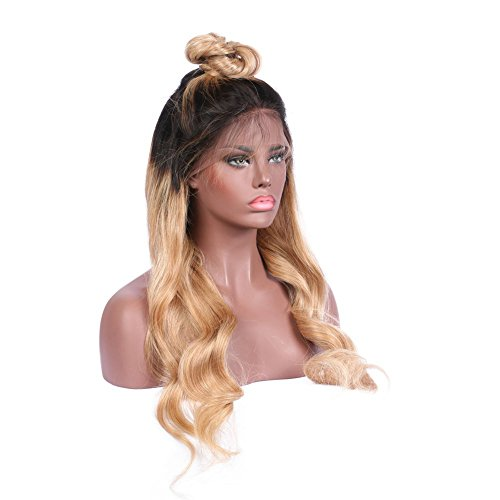 KRN Ombre Lace Front Wig Human Hair Body Wave Blonde Full Lace Wigs For Black Women 1B/27 Blonde With Dark Roots Baby Hair Meidum Size And Medium Brown Lace (18 Inch, 130% Full Lace Wig)