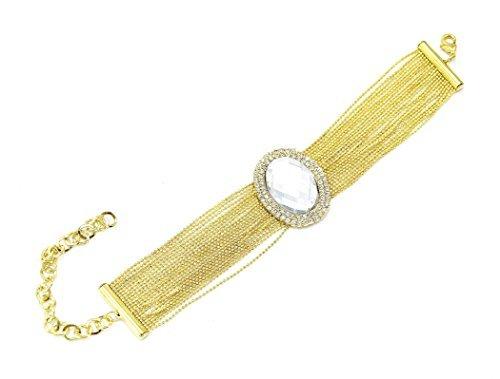 BC380 - Bracelet Multi-Chaînes Métal et Ovale Contour Strass Doré - Mode Fantaisie