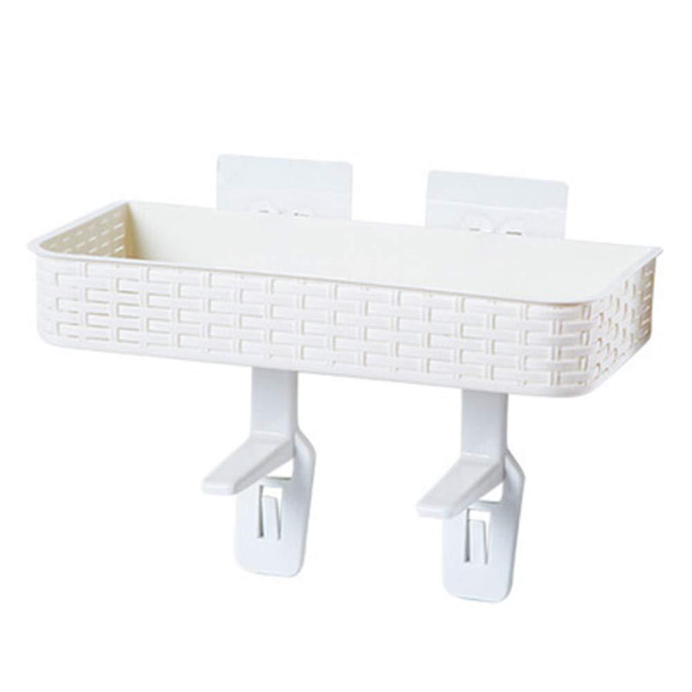 YJYDADA Multifunctional Hanger Wall Mounted Storage Rack Without Perforating Sucker Rack (White)