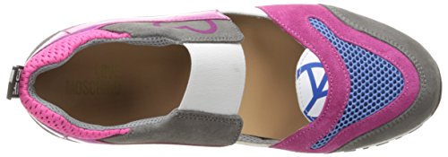 Love Moschino Donna Cut-out Logo Scarpa Da Running Moda Sneaker Fucsia / Grigio / Blu
