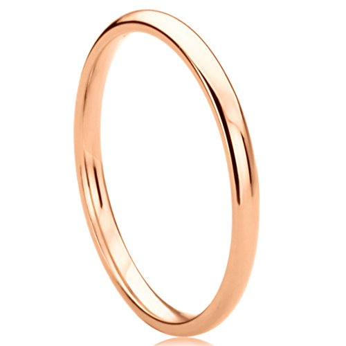 14K Rose Gold 2mm Wedding Ring High Polish Classic Domed Wedding Band (Size 4 to 9), 5