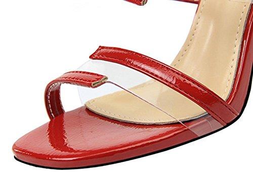 Orteil Transparent Sandals Féminine 5cm Talon Haut Mode Red Creux 9 XFSqwPIx