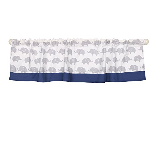 (Grey and Navy Elephant Print Window Valance by The Peanut Shell - 100% Cotton)