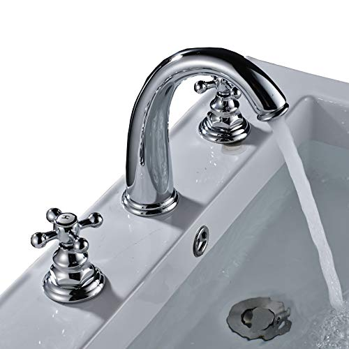 Rozin Chrome Widespread 3 Holes Basin Faucet 2 Knobs Mixing Tap