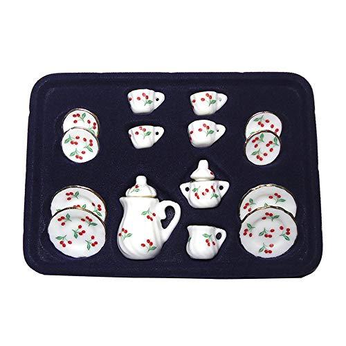 - LLY 1:12 Dollhouse Miniature Ceramic Tea Cup Set 15 Pieces Porcelain Tea Cup Set Cherry Pattern with Gold Trim