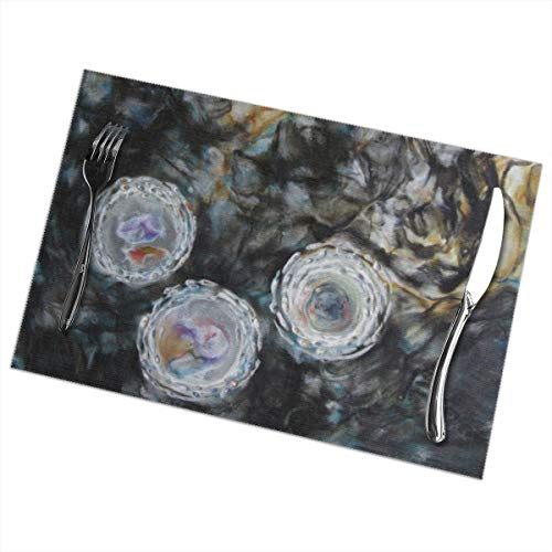Mr.Roadman Placemats Set of 6, Heat Resistant Washable Placemat for Dining Table, Indoor Outdoor Anti-Skid Kitchen Table Mats with Abstract Encaustic Painting Art, 12 X 18 Inch