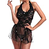 Women Lace Lingerie Sleepwear Chemises V-Neck Full Slip Babydoll Nightgown Dress Mini Teddy Three-Point Nightdress (M, Black)