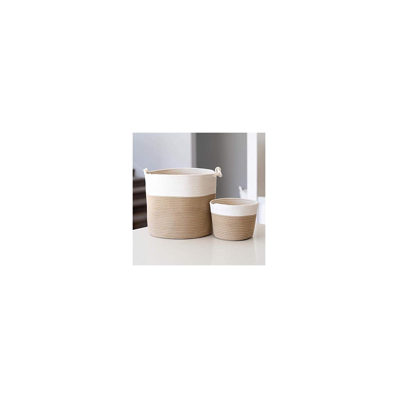 Little Hippo 2pc Large Cotton Rope Basket (15″x14″) 100% Natural Cotton! Rope Basket, Woven Storage Basket, Large Basket, Blanket Basket Living Room, Toy Basket, Pillow Basket, Round Basket