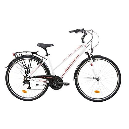 F.lli Schiano Voyager Bicicleta Trekking, Women's, Blanco-Rojo, 28'' a buen precio