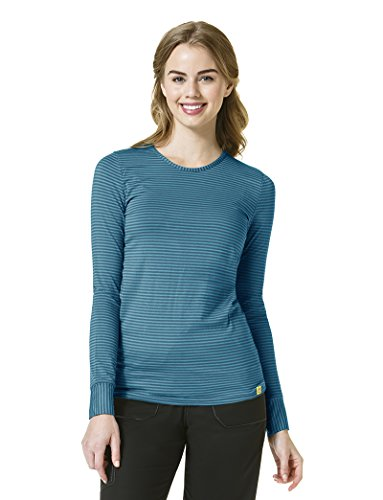 WonderWink Women's Long Sleeve Striped Tee, Caribbean Blue/Real Teal, Large - Caribbean Long Sleeve Shirt