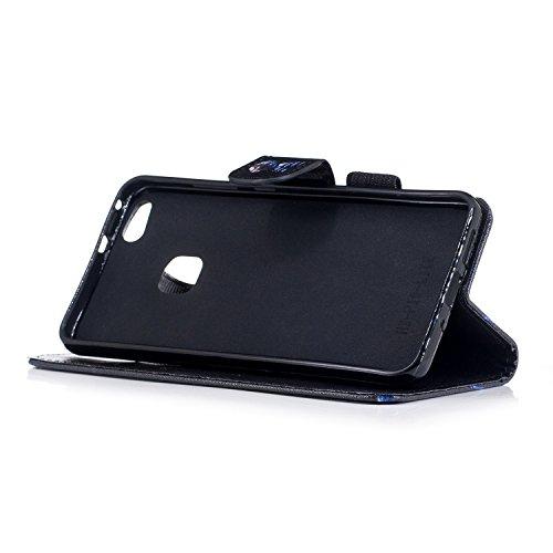 Funda Huawei P10 lite,SainCat Funda de cuero sintético tipo billetera con correa de cordón de Suave PU Carcasa Con Tapa y Cartera, Correa de mano, Soporte Plegable, Ranuras para Tarjetas y Billetera F Abajo chaqueta gato