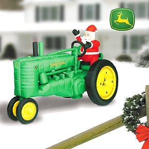 Inflatable Santa On 8 John Deere Tractor