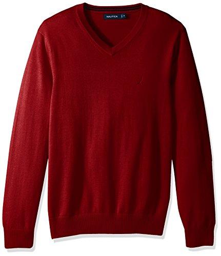 Nautica+Men%27s+Long+Sleeve+Solid+Classic+V-Neck+Sweater%2C+Nautica+Red+S71600%2C+Medium