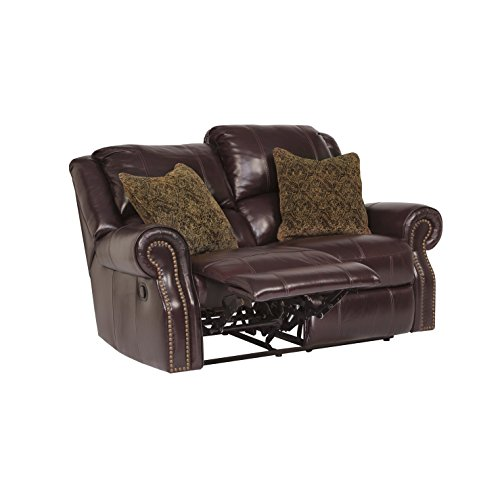 Ashley Furniture Signature Design - Walworth Recliner Loveseat with 2 Pillows - Pull Tab Manual Reclining - Black cherry Cherry Leather Recliner