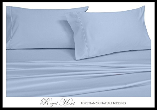 Solid Blue Split-King: Adjustable King Bed Size Sheets, 5PC Bed Sheet Set, 100% Cotton, 300 Thread Count, Sateen Solid, Deep Pocket, by Royal Hotel