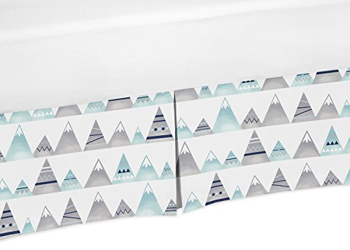 Ruffle Collection Dust - Sweet Jojo Designs Navy Blue, Aqua and Grey Aztec Baby Boy or Girl Unisex Pleated Pleated Crib Bed Skirt Dust Ruffle for Mountains Collection