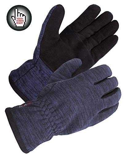 SKYDEER Winter Touch Screen Gloves with Soft Warm Deerskin Suede Leather and Windproof Polar Fleece (SD8666T/L)