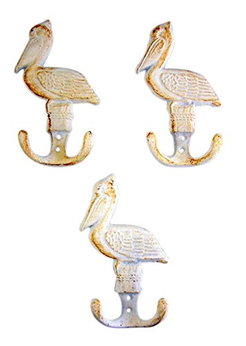 White Pelican Cast Iron Wall Hook 5 3/4 Inch (Set of 3)