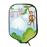 YOLIYANA Nursery Durable Racket Cover,Monkey Swinging with The Kid Baby Clothes Chimpanzee Jungle Joy Togetherness for Sandbeach,One Size