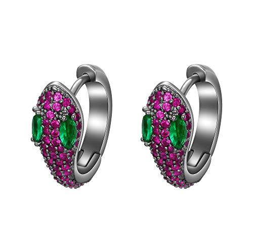 EVER FAITH Women's Cubic Zirconia Art Deco Party Snake Animal Stud Earrings Fuchsia Black-Tone ()