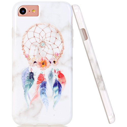 iPhone 7 8 Case, iPhone 6 6S Case, JAHOLAN Red Blue Dream Catcher Marble Design Clear Bumper Glossy TPU Soft Rubber Silicone Cover Phone Case for Apple iPhone 6/6S/7/8