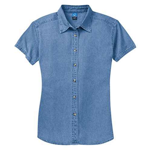 Port & Company - Ladies Short Sleeve Value Denim Shirt. LSP11 - Faded Blue - - Sleeve Cotton Short Denim Shirt