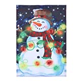 30x45cm Christmas Digital Flag Banner Xmas Polyester Garden flag Decorative Banner Festival Party Supplies (Snowman with Lights)