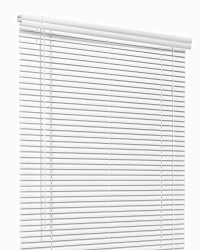 CHICOLOGY Custom Made Corded 1-Inch Aluminum Mini Blind, Blackout Horizontal Slats, Inside Mount, Room Darkening Perfect for Kitchen-Bedroom-Living Room-Office and More – 35″ W X 54″ H, Artic White
