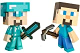"Minecraft Exclusive Diamond Steve & Regular Steve 6"" Vinyl Toy Figure Set of 2 / Official Product From Mojang"