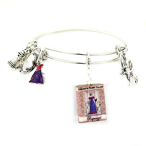RAPUNZEL Clay Mini Book Expandable Bangle Bracelet by Book Beads Traditional Classic Fairy Tale Brothers (Toddler Fairy Tale Classics Costume)
