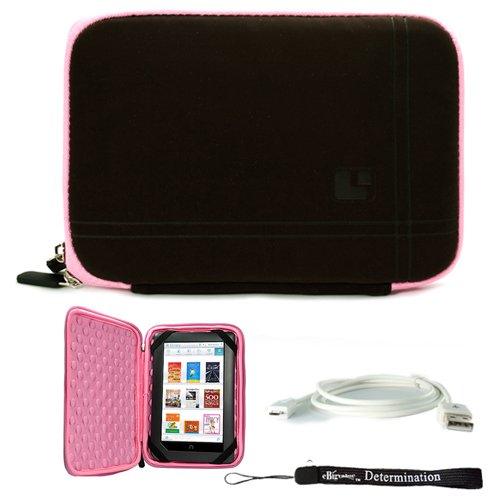 Pink Brown Limited Edition Stylish Sleeve Premium Cover Case with Aerotechnology Protection and with front pocket for accessories For Barnes & Noble NOOK COLOR eBook Reader Tablet + Includes a eBigValue (TM) Determination Hand Strap + Includes a USB Data  by eBigValue