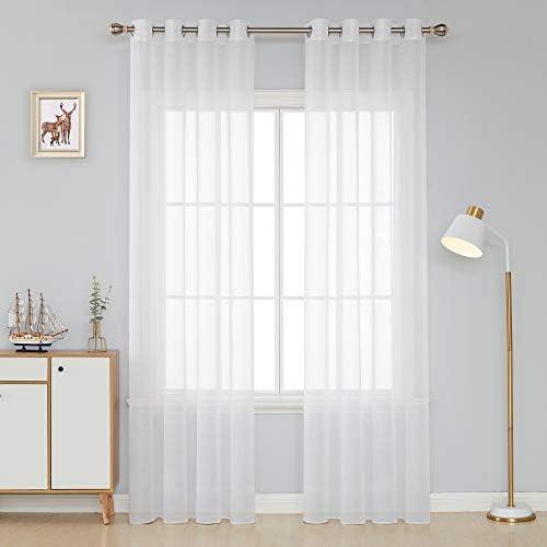 Deconovo Tende Finestre Soggiorno Trasparenti in Voile Tinta Unita per Casa Moderne con Occhielli 132x214cm Bianco 2 Pannelli