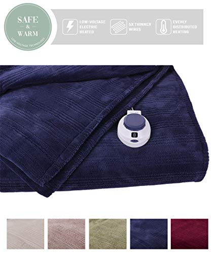 SoftHeat by Perfect Fit | Ultra Soft Plush Electric Heated Warming Blanket with Safe & Warm Low-Voltage Technology (Throw, Nightshadow Blue)
