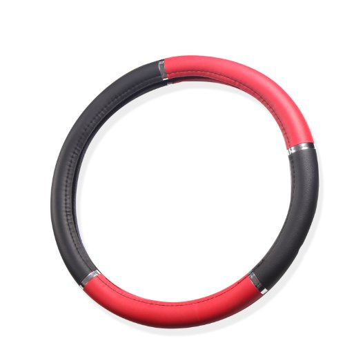 Adeco Universal Faux Leather Vehicle Car Driving Steering Wheel Cover, Black/Red ()