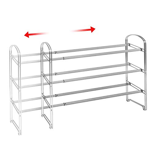 - Seville Classics 3-Tier Expandable Shoe Rack, Chrome