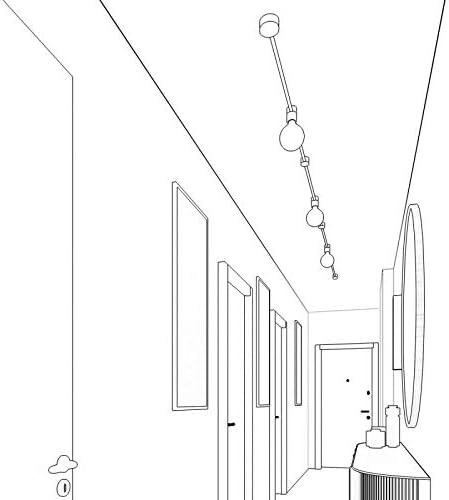 Sistema Filé Linear Kit - con cavo di 5 m per catenaria e 7 componenti in legno verniciato nero per interni - CZ04 Cm16