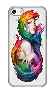 Apple Iphone 5C Case,WENJORS Cute Angel of Colors Hard Case Protective Shell Cell Phone Cover For Apple Iphone 5C - PC Transparent