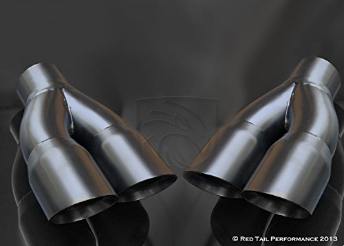 Black Powder Coated Exhaust Muffler Tip Dual Round Staggered Forward Slash Cut Rolled Edge 2.5