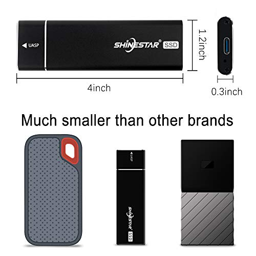 SHINESTAR 512 GB USB C External SSD for MacBook, Portable SSD with 2 USB Cables, High Performance 6 Gb/s USB 3.1 Gen 1 (UASP) External Storage for Laptop, Surface Book, ZenBook, ChromeBook by SHINESTAR (Image #2)